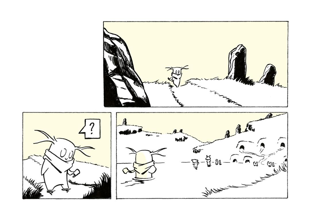 Seriefiguren Ipp vandrar till en översvämmad by.