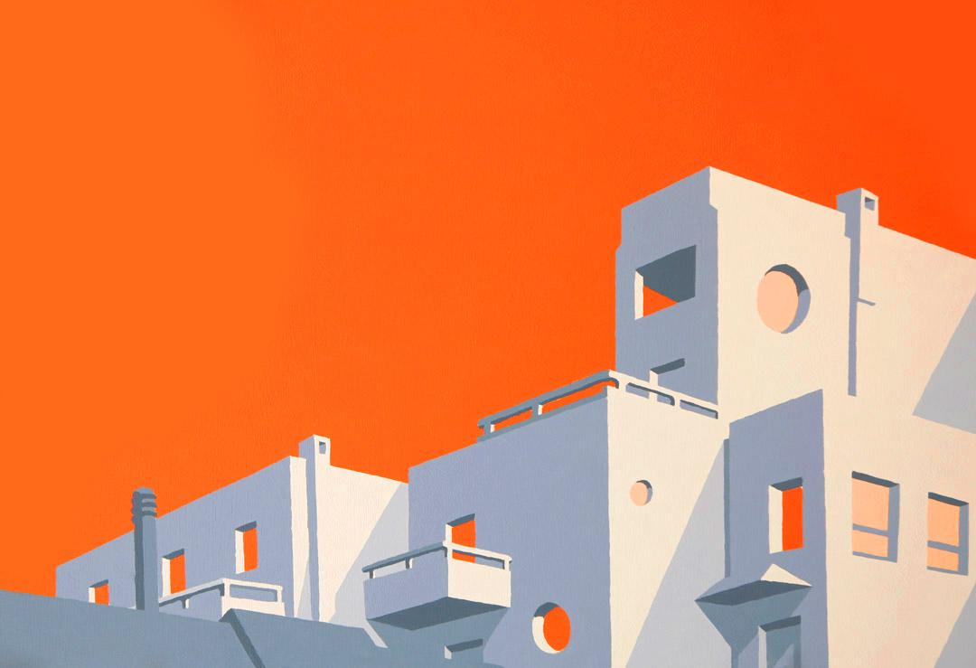 stiliserad målning i akryl av ödsligt hotell