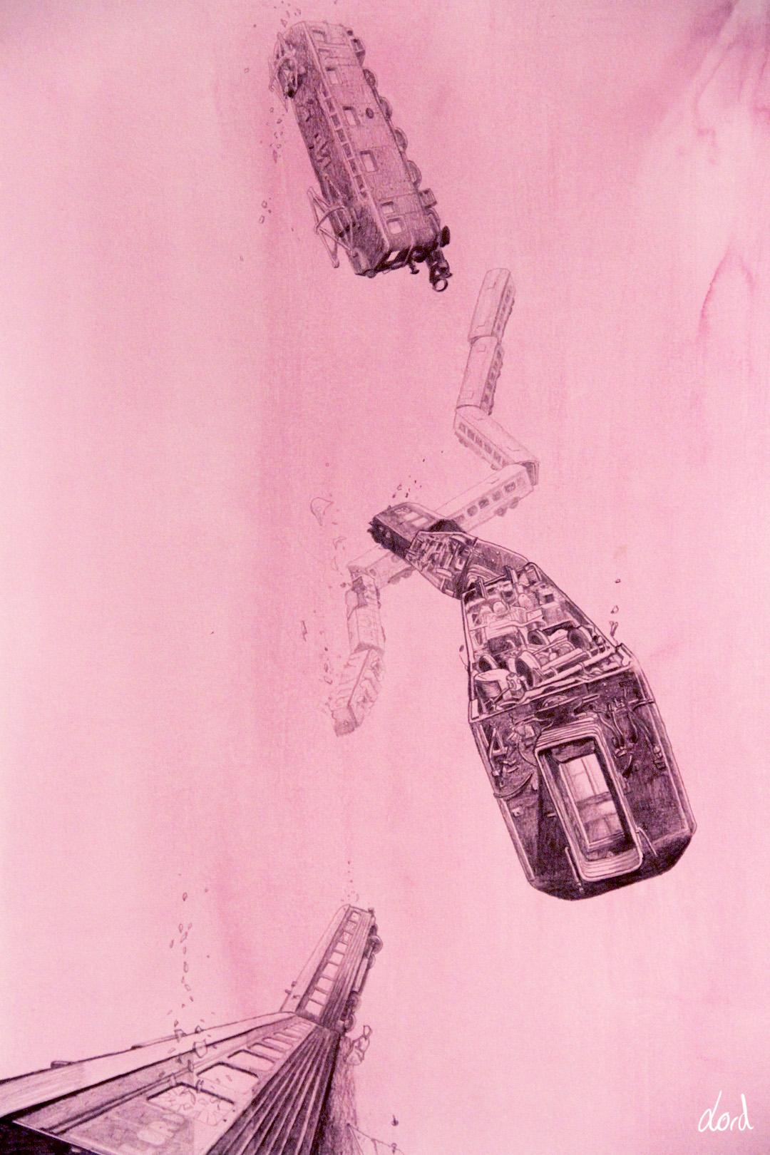 Blyertsteckning med fallande tåg på rosa akvarell