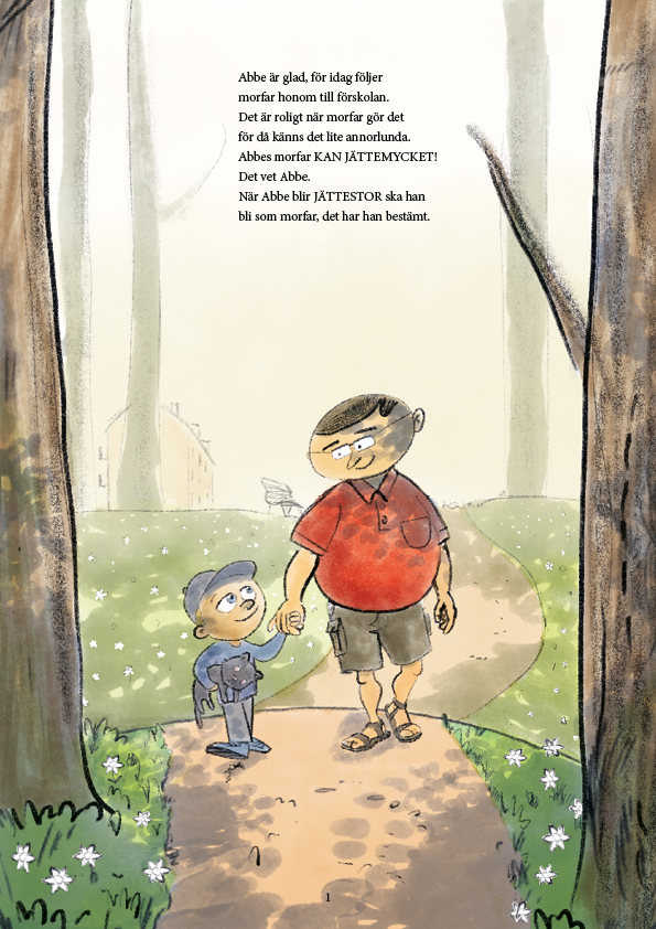 En pojke tittar beundrande på sin morfar medan de vandrar bland vitsipporna
