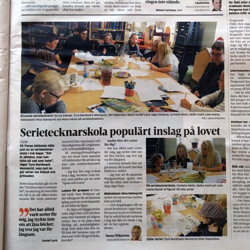 Tidningsartikel ur UNT med rubriken Serietecknarskola populärt inslag på lovet