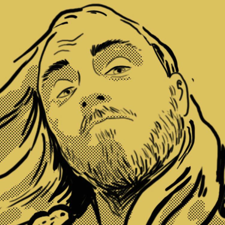 Närbild på tecknat porträtt med raster och gul bakgrund