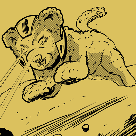 En illustrerad hund skjuter laserstrålar ur ögonen
