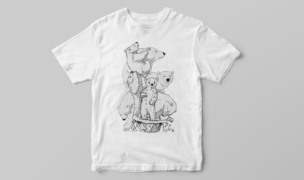 T-shirt med teckna isbjörnsmotiv