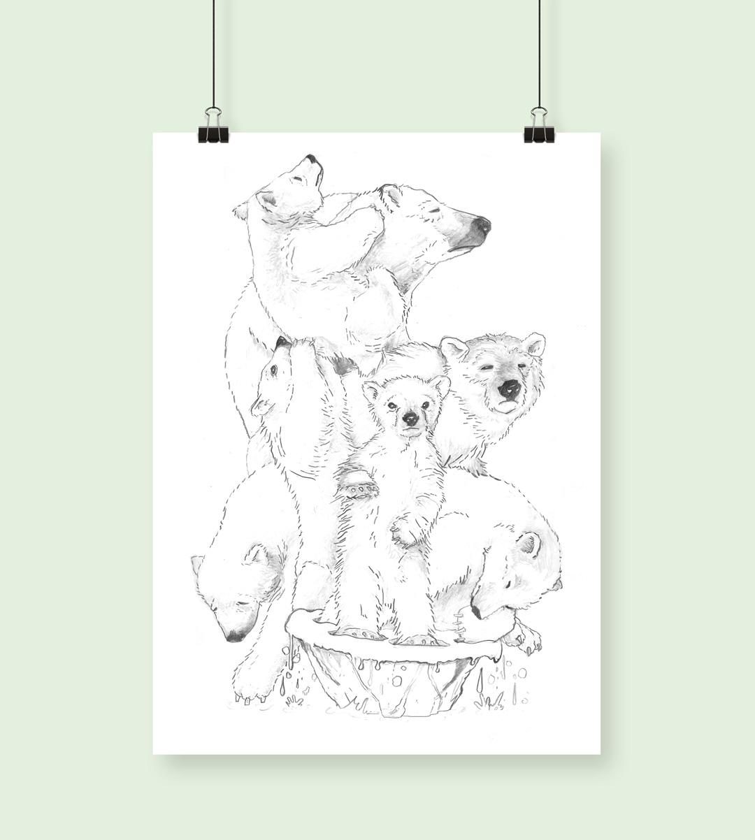 Poster med isbjörnar teckande i blyerts som trängs på smältande isflak
