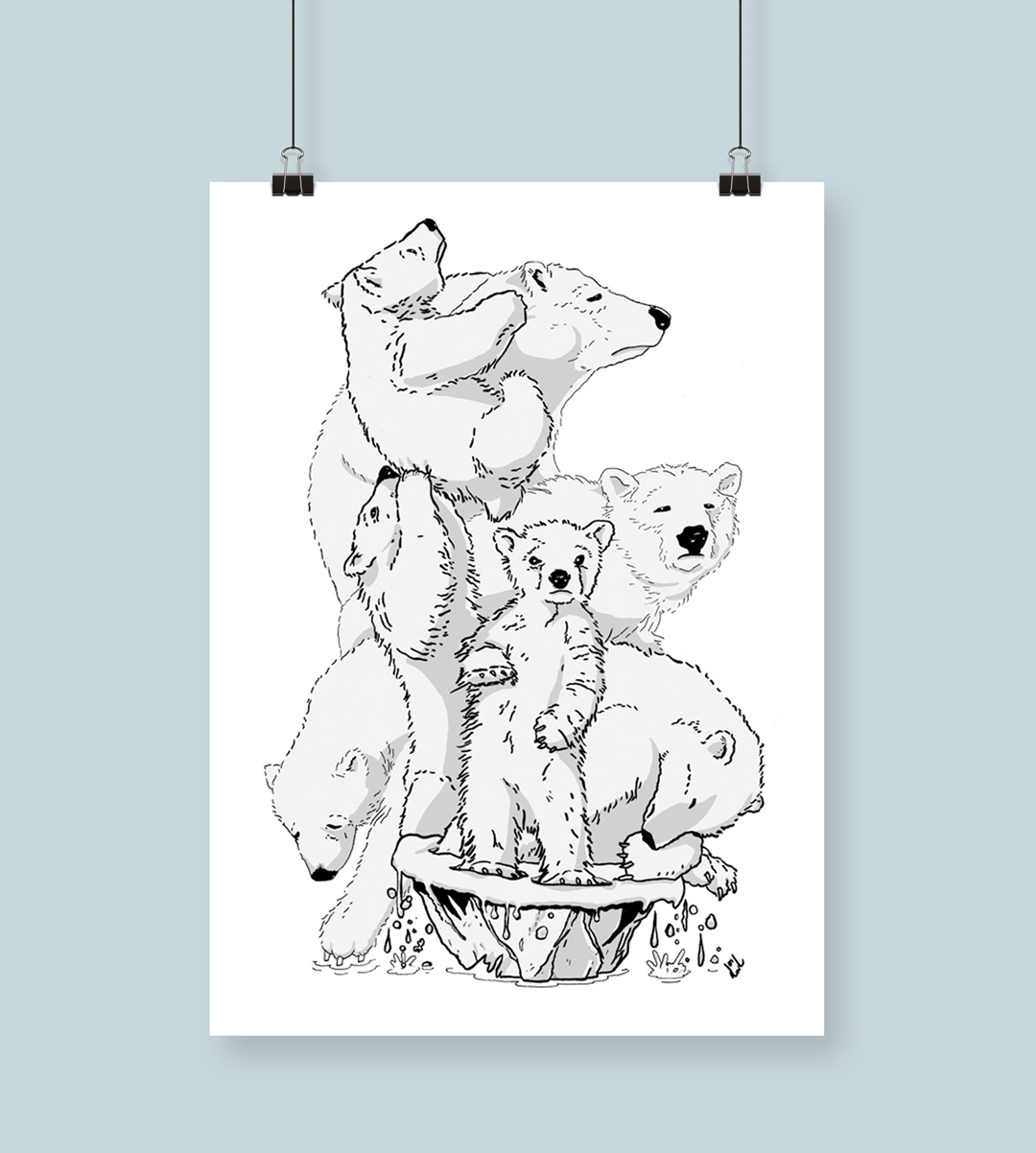 Poster med isbjörnar som trängs på ett litet smältande isflak.
