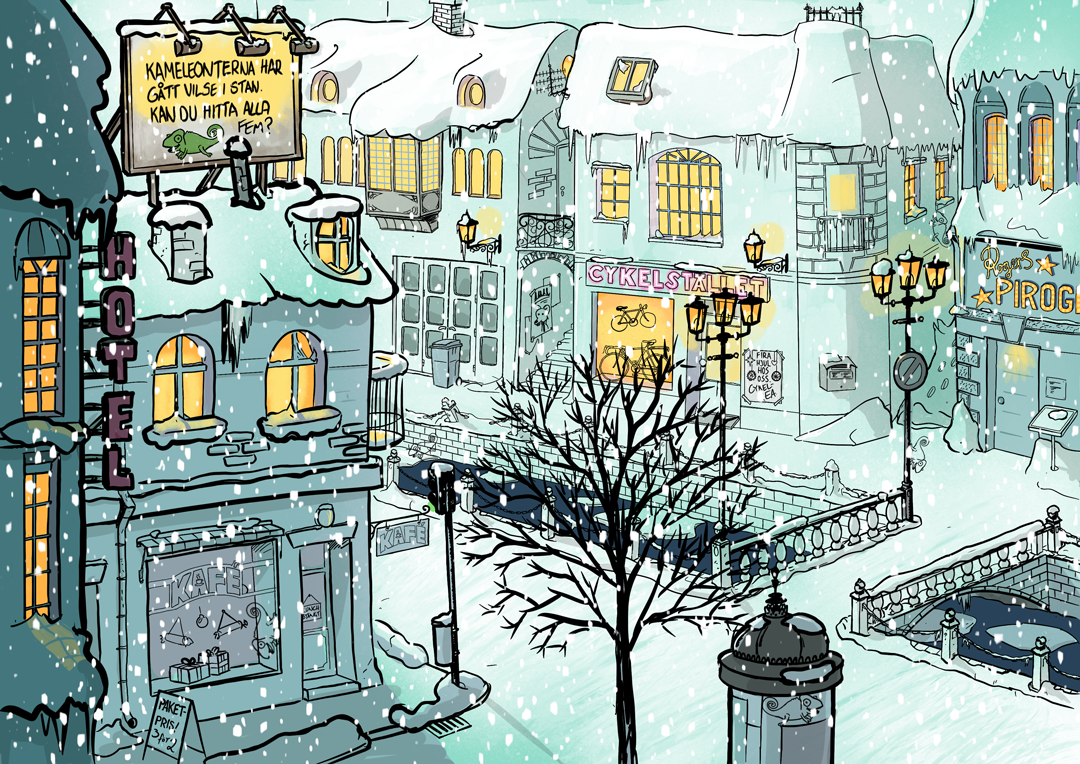 Five chameleons hidden in a snowy town